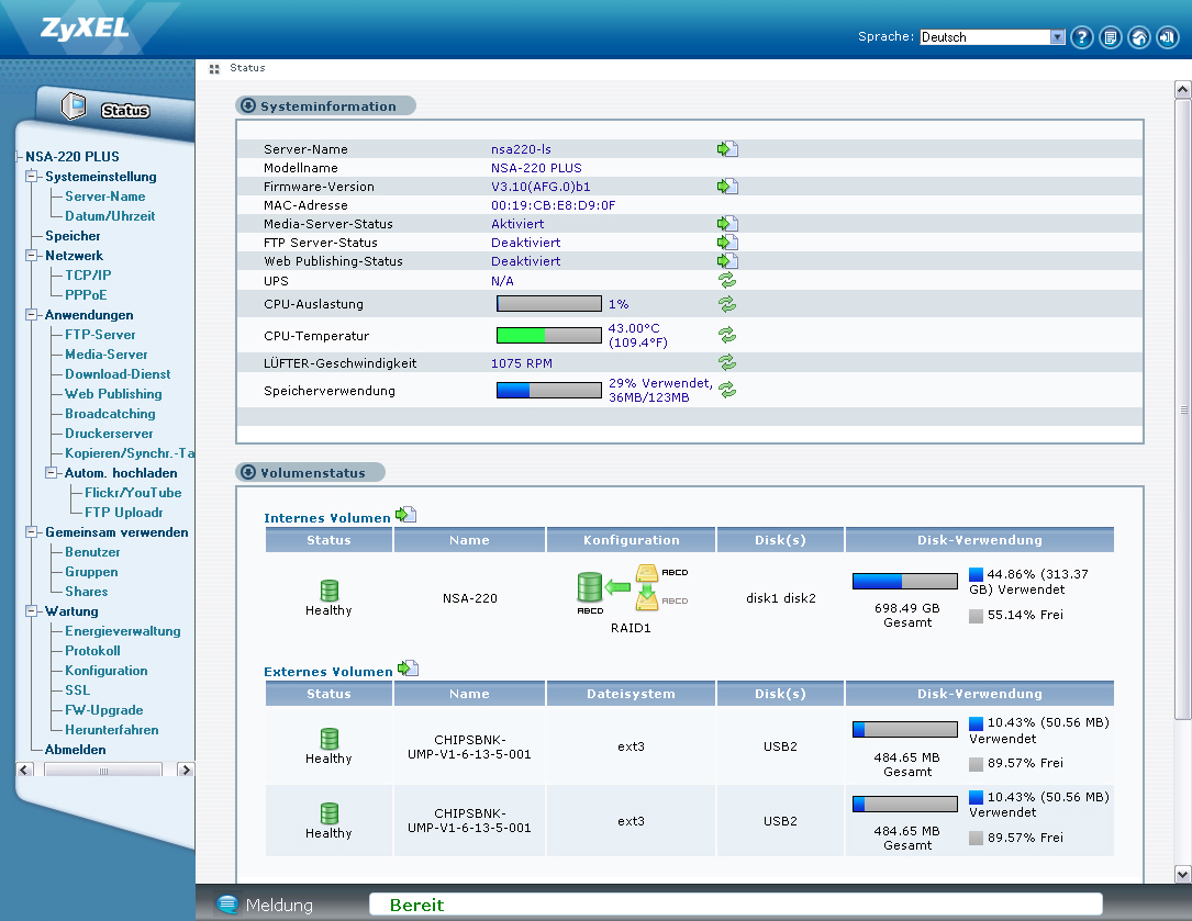 zyxel nsa-220 plus firmware download